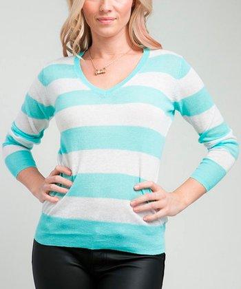 Mint Stripe V-Neck Sweater