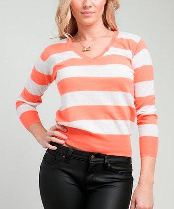 Orange Stripe V-Neck Sweater