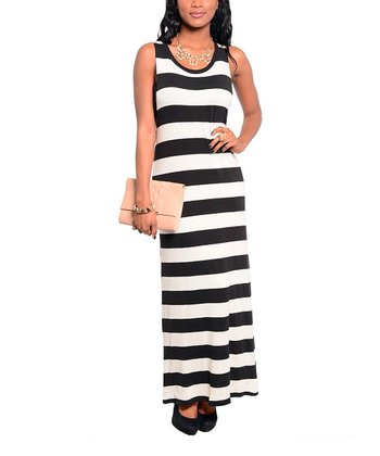 Ivory & Black Stripe Maxi Dress