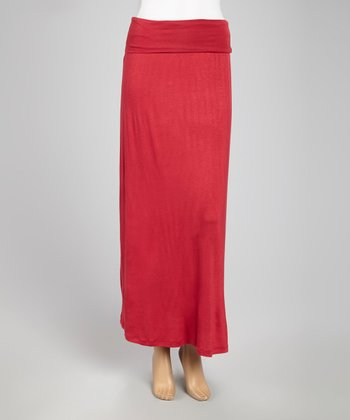 Burgundy Fold-Over Waist Maxi Skirt - Women
