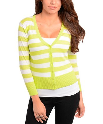 Lime & White Stripe Cardigan