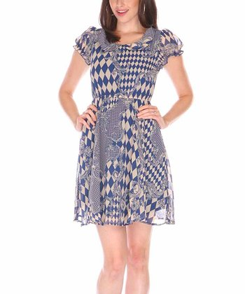 Blue & White Checkerboard Patchwork Cap-Sleeve Dress