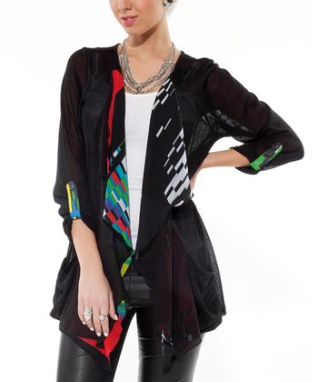 Black Sheer Geometric Open Cardigan