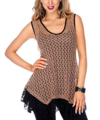 Mocha Crocheted Lace Sleeveless Top