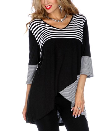 Black Stripe V-Neck Hi-Low Tunic