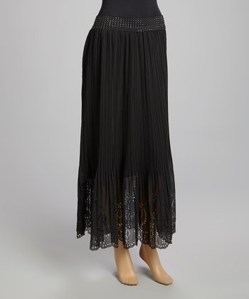 Black Eyelet Pleated Maxi Skirt