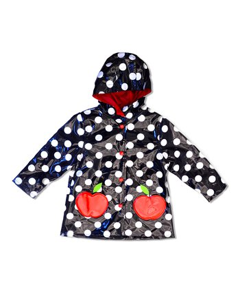 Black Polka Dot Apple Raincoat - Toddler & Girls