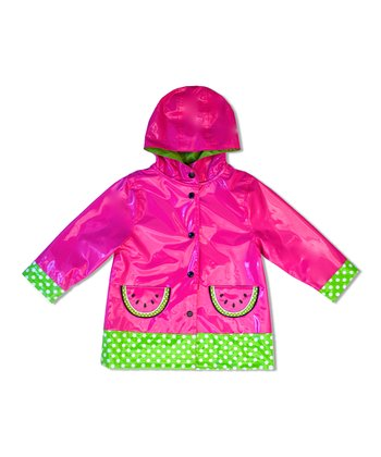 Fuchsia Watermelon Raincoat - Toddler & Girls