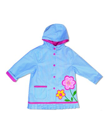 Turquoise Gingham Flower Raincoat - Infant, Toddler & Girls