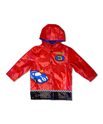 Red Racing Track Raincoat - Toddler & Boys