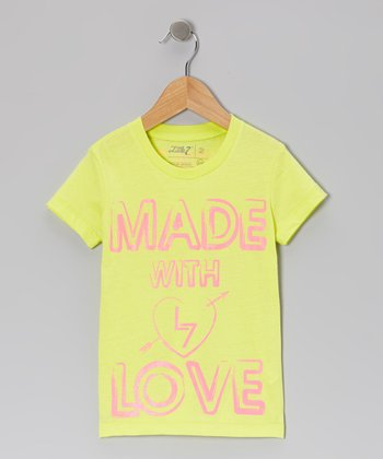 Bright Yellow 'Made With Love' Tee - Infant, Toddler & Girls