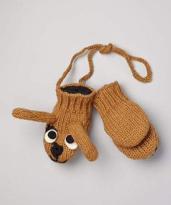 Tan Doggy Wool Mittens