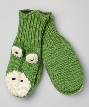 Green Frog Wool Mittens