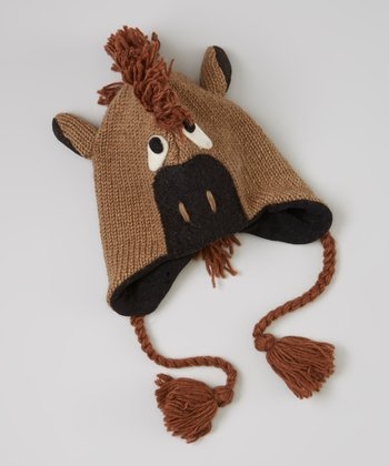 Brown Horse Wool Earflap Beanie