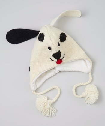 White Puppy Large Wool Earflap Beanie