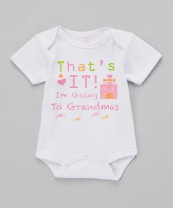 Mon Cheri Baby White 'I'm Going to Grandma's' Bodysuit - Infant