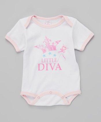Mon Cheri Baby White & Pink 'Little Diva' Bodysuit - Infant