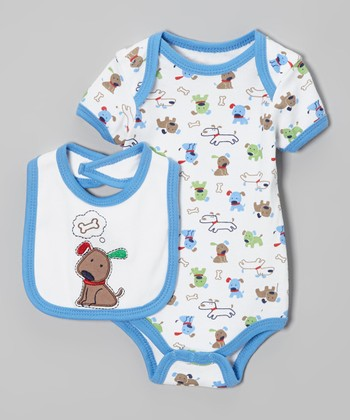 Blue & White Puppy Bodysuit & Bib - Infant