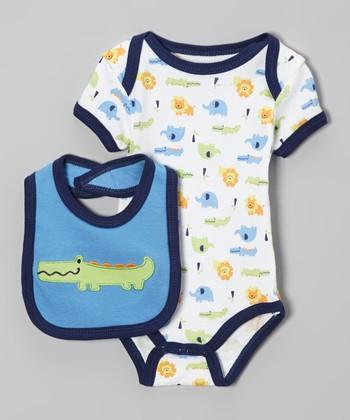 Weeplay Kids Blue & Green Alligator Bodysuit & Bib - Infant