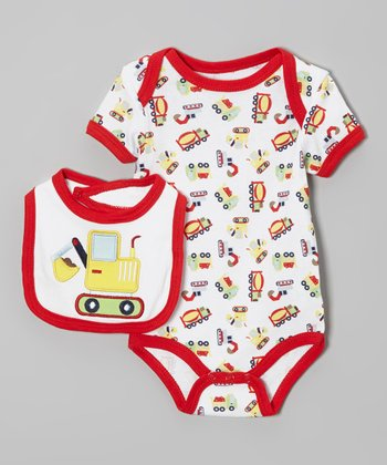 Weeplay Kids Red & White Construction Bodysuit & Bib - Infant