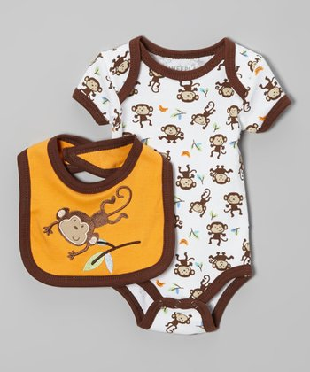 Brown & White Monkey Bodysuit & Bib - Infant