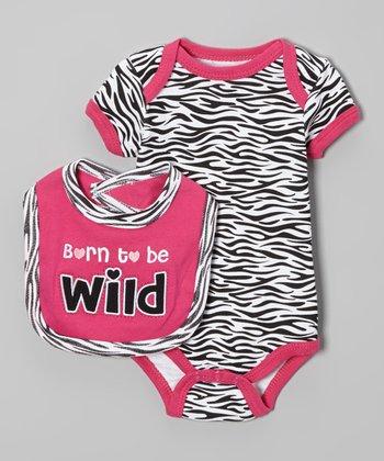 Weeplay Kids Pink & White Zebra 'Wild' Bodysuit & Bib - Infant