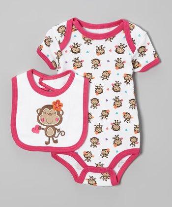 Weeplay Kids Pink & White Monkey Bodysuit & Bib - Infant