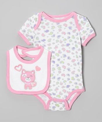 Weeplay Kids Pink & White Kitten Bodysuit & Bib - Infant