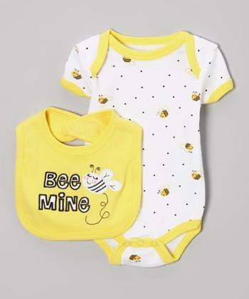 Weeplay Kids Yellow & White 'Bee Mine' Bodysuit & Bib - Infant