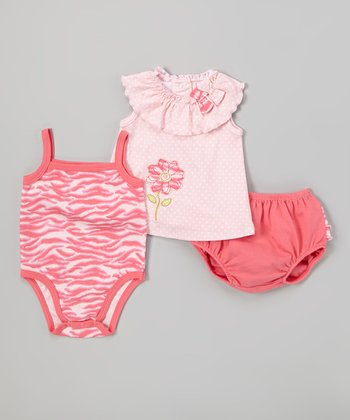 Peanut Buttons Light Pink Daisy Bodysuit Set - Infant
