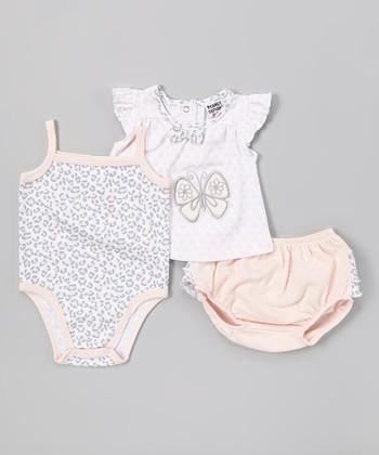Peanut Buttons Rose Leopard Butterfly Bodysuit Set - Infant