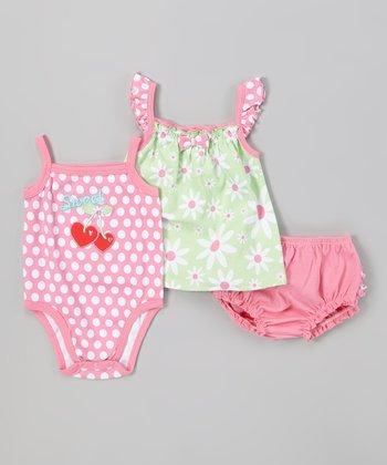 Peanut Buttons Lime Daisy Bodysuit Set - Infant