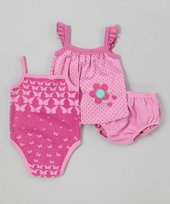 Peanut Buttons Fuchsia Polka Dot Butterflies Bodysuit Set - Infant