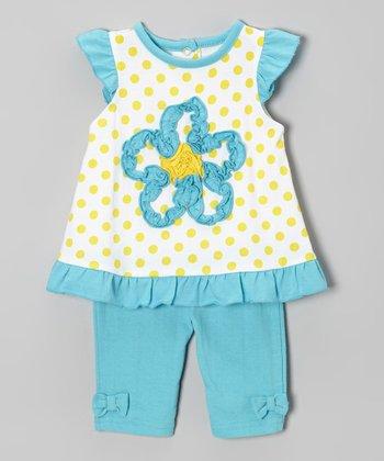 Weeplay Kids Teal & Yellow Polka Dot Flower Tunic & Pants - Infant