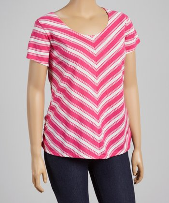Cloudless Pink & White Chevron Crisscross Top - Plus