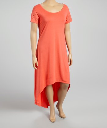 Coral Reef Open Panel Hi-Low Dress - Plus