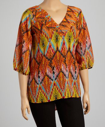 Yellow & Orange Abstract V-Neck Top - Plus