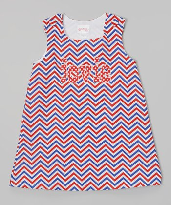Red & Blue Zigzag Personalized Jumper - Infant, Toddler & Girls