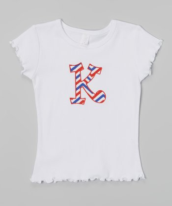 White Zigzag Initial Tee - Infant, Toddler & Kids