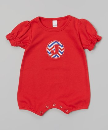 Red Initial Puff-Sleeve Romper - Infant