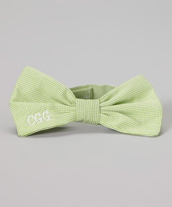 Lime Gingham Monogram Bow Tie
