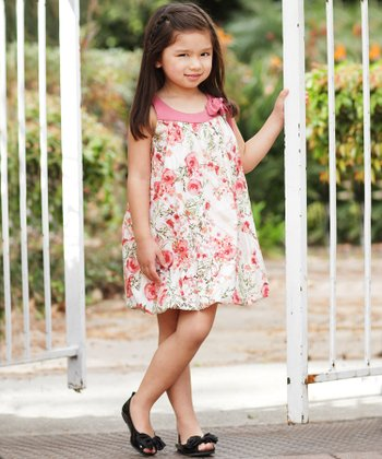 Mauve Floral Bubble Dress - Girls