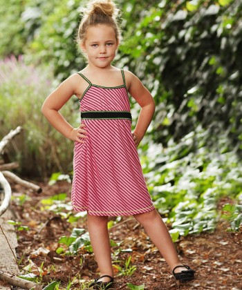 Coral Stripe Babydoll Dress - Girls