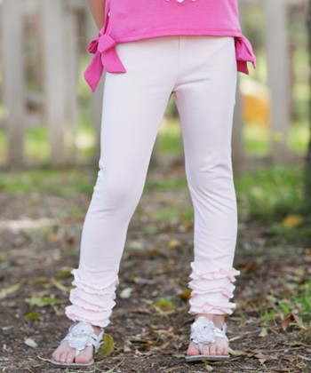 Light Pink Ruffle Leggings - Toddler & Girls