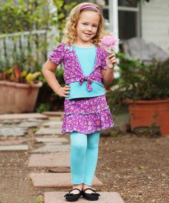 Purple Floral Layered Top & Skirted Leggings - Toddler & Girls