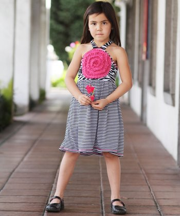 Black & White Double Stripe Blooming Rose Dress - Girls