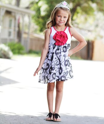 Black & White Circle Peony Dress - Toddler & Girls