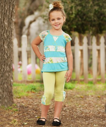 Aqua Floral Stripe Raglan Top & Leggings - Toddler & Girls