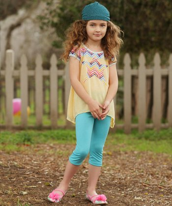 Yellow Lace Star Sidetail Tunic & Leggings - Toddler & Girls
