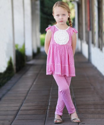 Fuchsia Stripe Rosette Tunic & Leggings - Infant & Girls